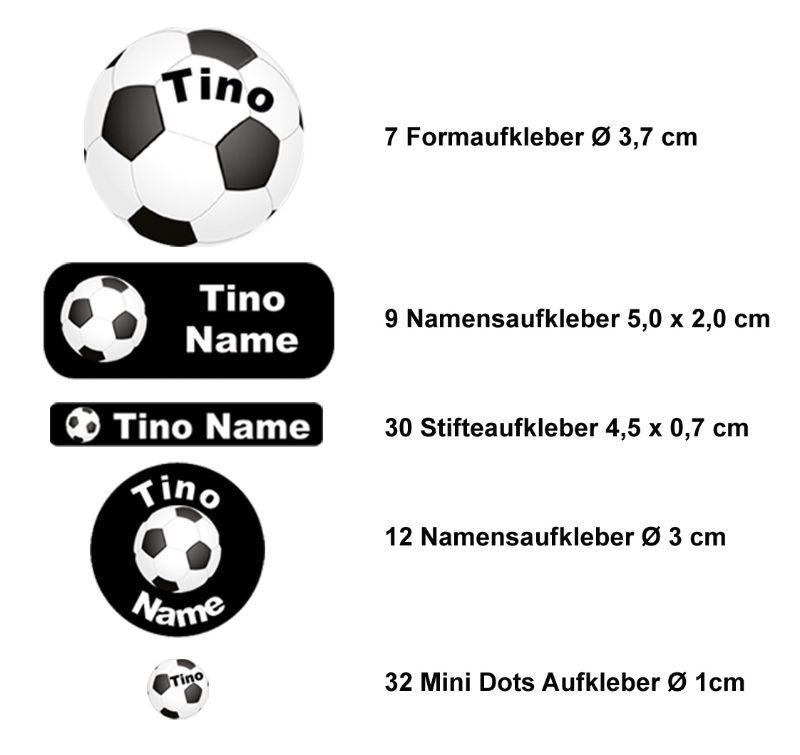 Kleinesbild - Schulstarterset - 90 Aufkleber   Fußball schwarz - personalisierbar   Namensaufkleber, Schuletiketten