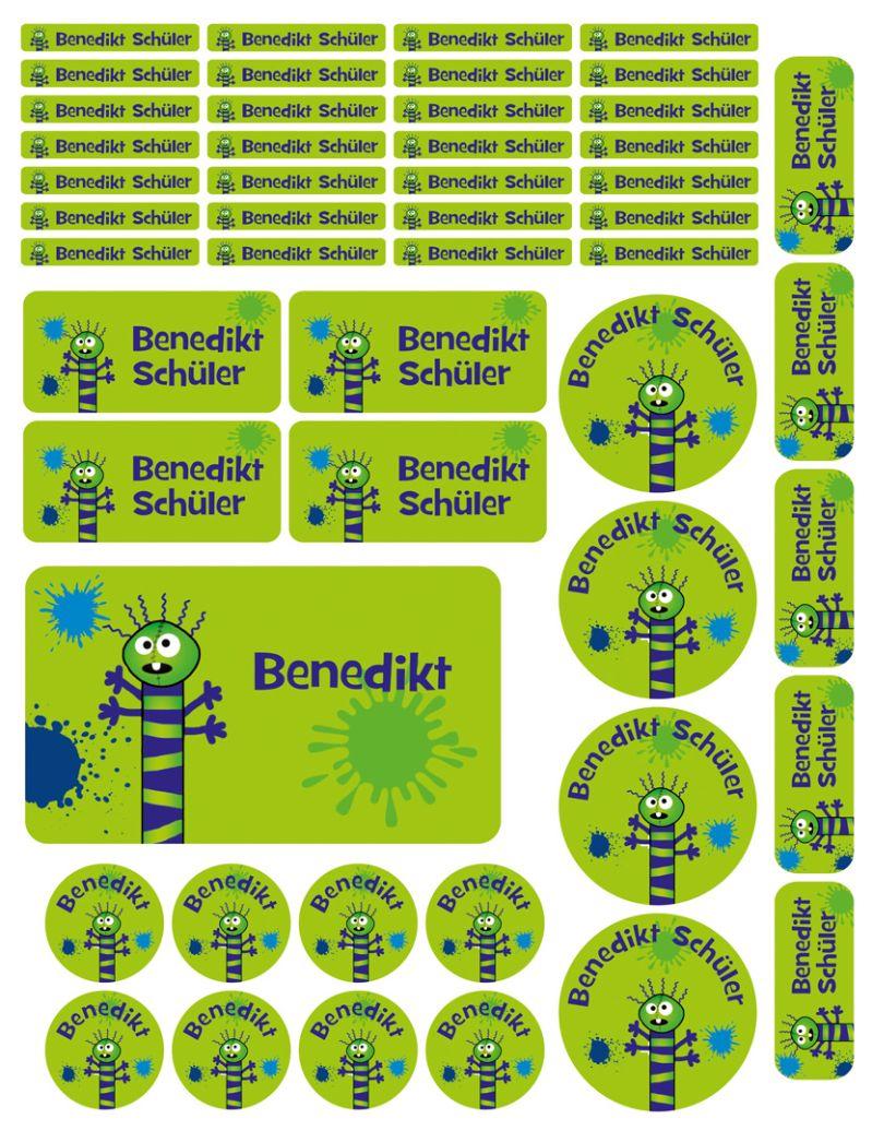 Kleinesbild - Schulstarterset - 50 Aufkleber   Farbklecks Monster - grün - personalisierbar   Namensaufkleber, Schuletiketten