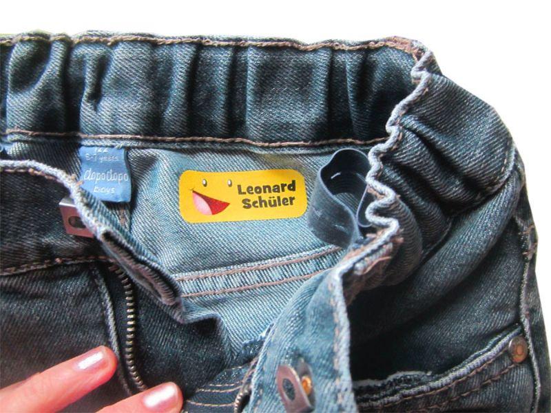 Kleinesbild - 52 Bügeletiketten 2 x 5 cm | Eule rot | permanent,  personalisierbar, dauerhafte Kleidungsetiketten zum aufbügeln