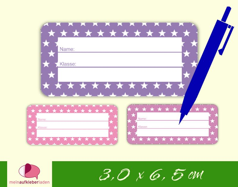 - 24 Heftaufkleber 3,0 x 6,5 cm   Sternchen lila rosa    Schuletiketten zum selber beschriften - 24 Heftaufkleber 3,0 x 6,5 cm   Sternchen lila rosa    Schuletiketten zum selber beschriften