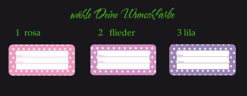 Kleinesbild - 24 Heftaufkleber 3,0 x 6,5 cm   Sternchen lila rosa    Schuletiketten zum selber beschriften
