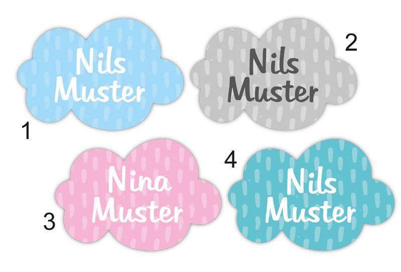 Kleinesbild - 36 Form - Namensaufkleber | Kleine Wolke | personalisierbar | Namensetiketten, Schuletiketten