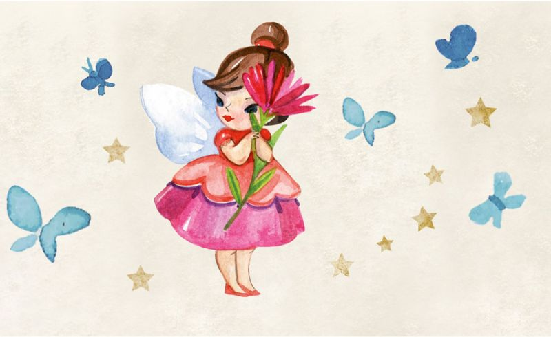Kleinesbild - Kinderbordüre - selbstklebend | Kleine Blumenfee - Watercolor - 18 cm Höhe | Wandbordüre mit vielen Feen mit Blumen und Schmetterlingen