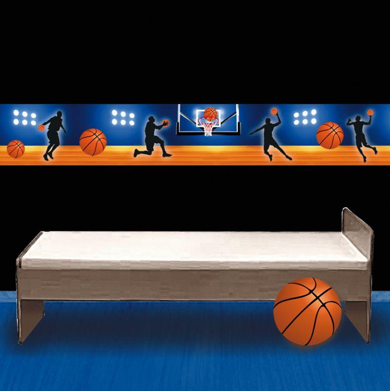 -  Wandbordüre - selbstklebend | Basketball - 18 cm Höhe | Vlies Bordüre mit Basketball und Spieler  -  Wandbordüre - selbstklebend | Basketball - 18 cm Höhe | Vlies Bordüre mit Basketball und Spieler