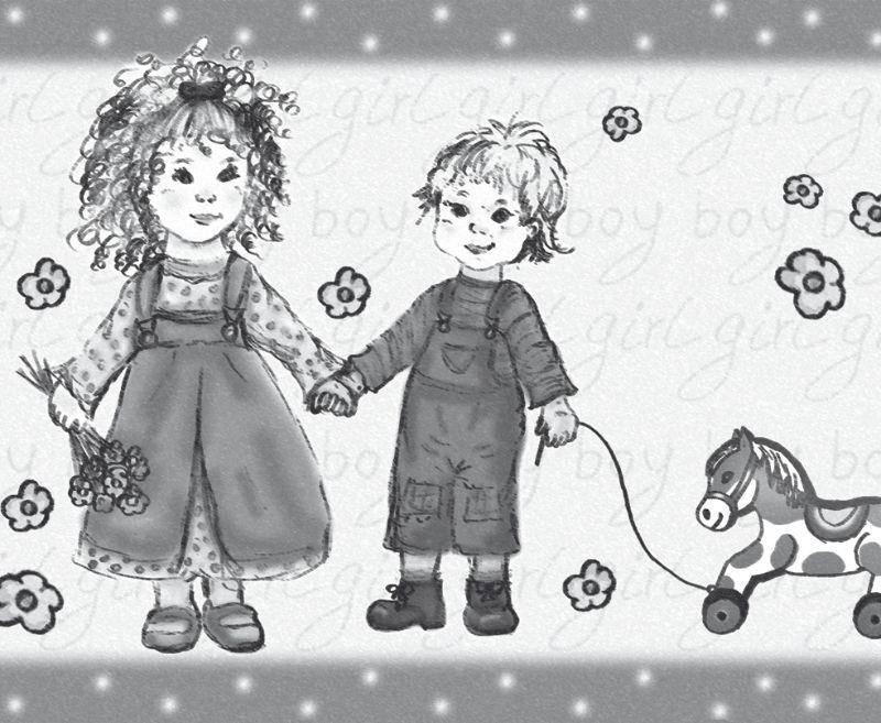 Kleinesbild - Kinderbordüre - selbstklebend   Geschwisterliebe -  18 cm Höhe   Vlies Bordüre mit Schwesterchen und Brüderchen