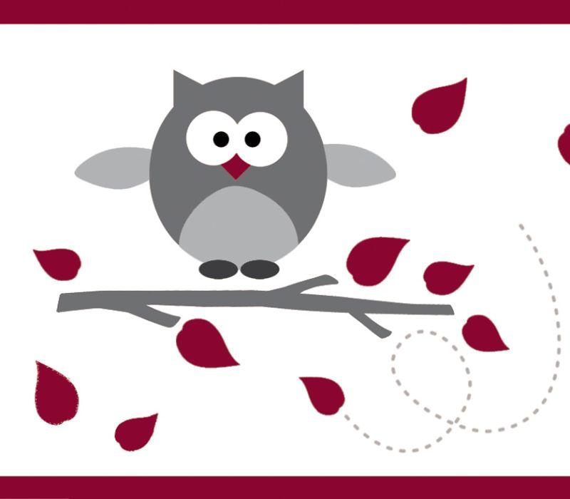 - Kinderbordüre - selbstklebend | Kleine Eulen - rot grau - 12 cm Höhe | Vlies Bordüre mit lustigen Eulen und Herbstblättern  - Kinderbordüre - selbstklebend | Kleine Eulen - rot grau - 12 cm Höhe | Vlies Bordüre mit lustigen Eulen und Herbstblättern