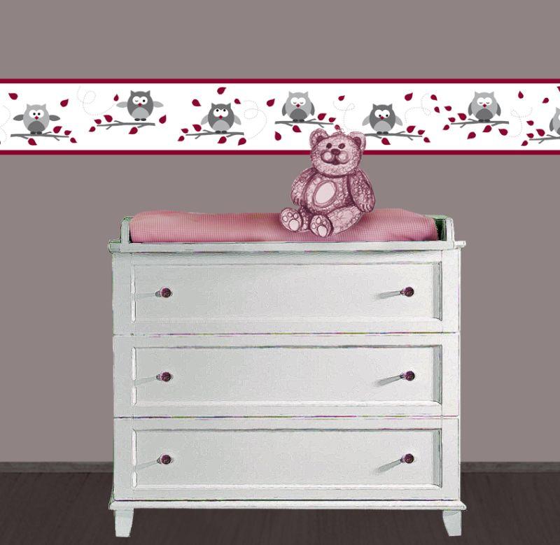 Kleinesbild - Kinderbordüre - selbstklebend | Kleine Eulen - rot grau - 12 cm Höhe | Vlies Bordüre mit lustigen Eulen und Herbstblättern