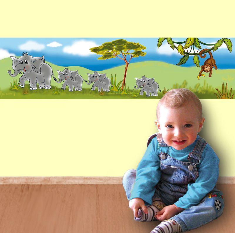 Kleinesbild - Kinderbordüre - selbstklebend | Afrika Tiere - 23 cm Höhe | Vlies Bordüre mit Elefanten, Giraffe, Löwe und Affe