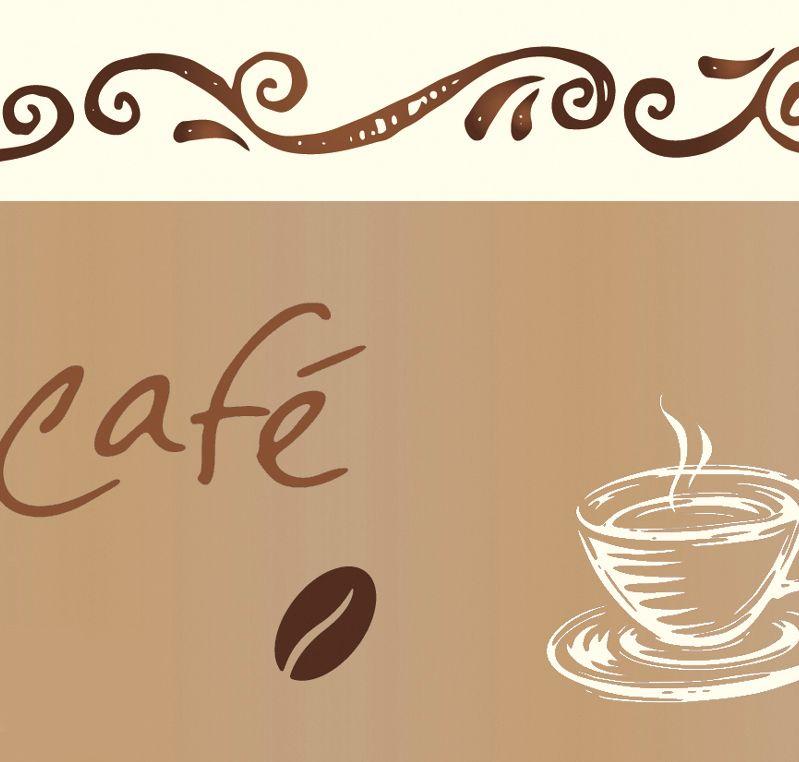 - Wandbordüre - selbstklebend | Kaffee - 13 cm Höhe | Vlies Bordüre mit Kaffebohnen und Kaffeetassen - Wandbordüre - selbstklebend | Kaffee - 13 cm Höhe | Vlies Bordüre mit Kaffebohnen und Kaffeetassen