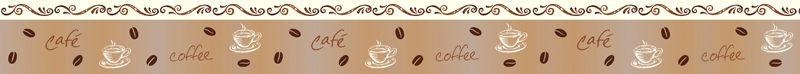 Kleinesbild - Wandbordüre - selbstklebend | Kaffee - 13 cm Höhe | Vlies Bordüre mit Kaffebohnen und Kaffeetassen
