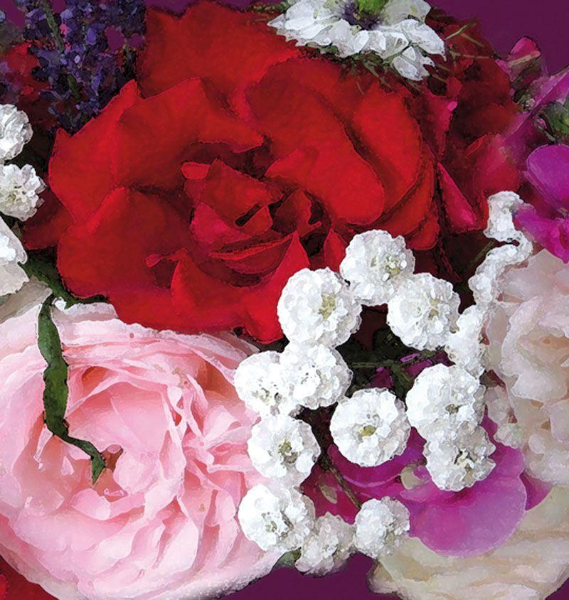 Kleinesbild - Wandbordüre - selbstklebend | Gartenblumen - Sommergrüße - 24 cm Höhe | Vlies Bordüre mit romantischen Rosen, Wicken, Lavendel und anderen Blumen