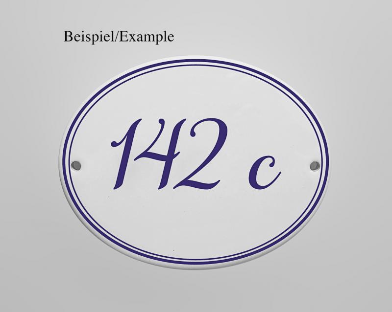 Kleinesbild - Porzellanschild  * Namensschild Türschild oder Hausnummer * personalisierbar mit Ihrem Wunschtext * Dekor eingebrannt bei  870° C * wetter- und frostfest *