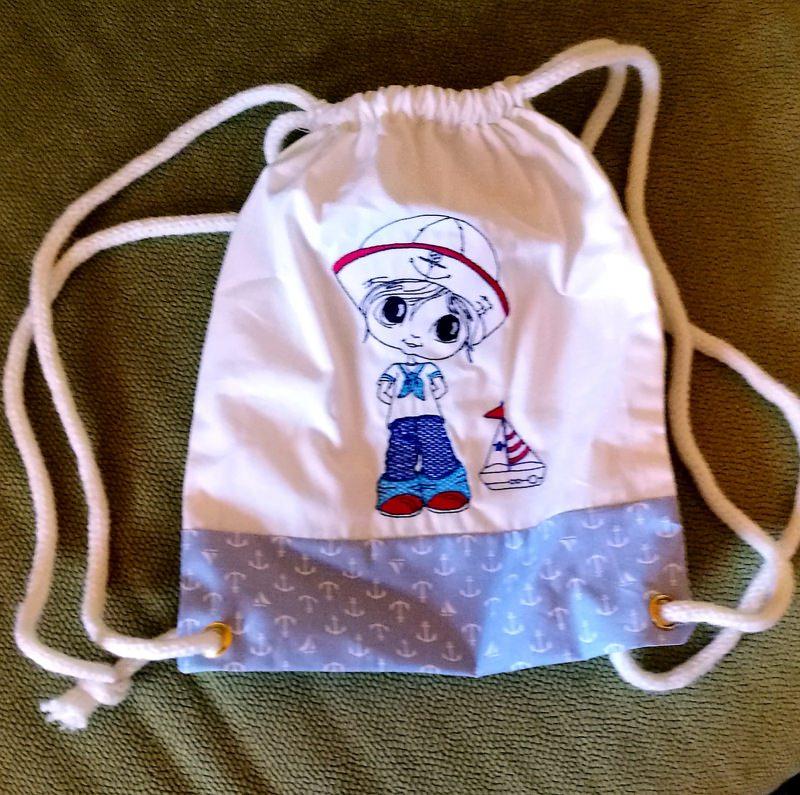 - kleiner dekorativer Kinderturnbeutel aus Baumwolle mit Seemann - kleiner dekorativer Kinderturnbeutel aus Baumwolle mit Seemann