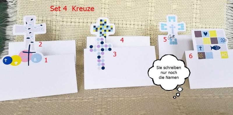 - Tischkarten mit christlichen Motiven aus Papier    Set 4    6Motive - Kreuze - Tischkarten mit christlichen Motiven aus Papier    Set 4    6Motive - Kreuze