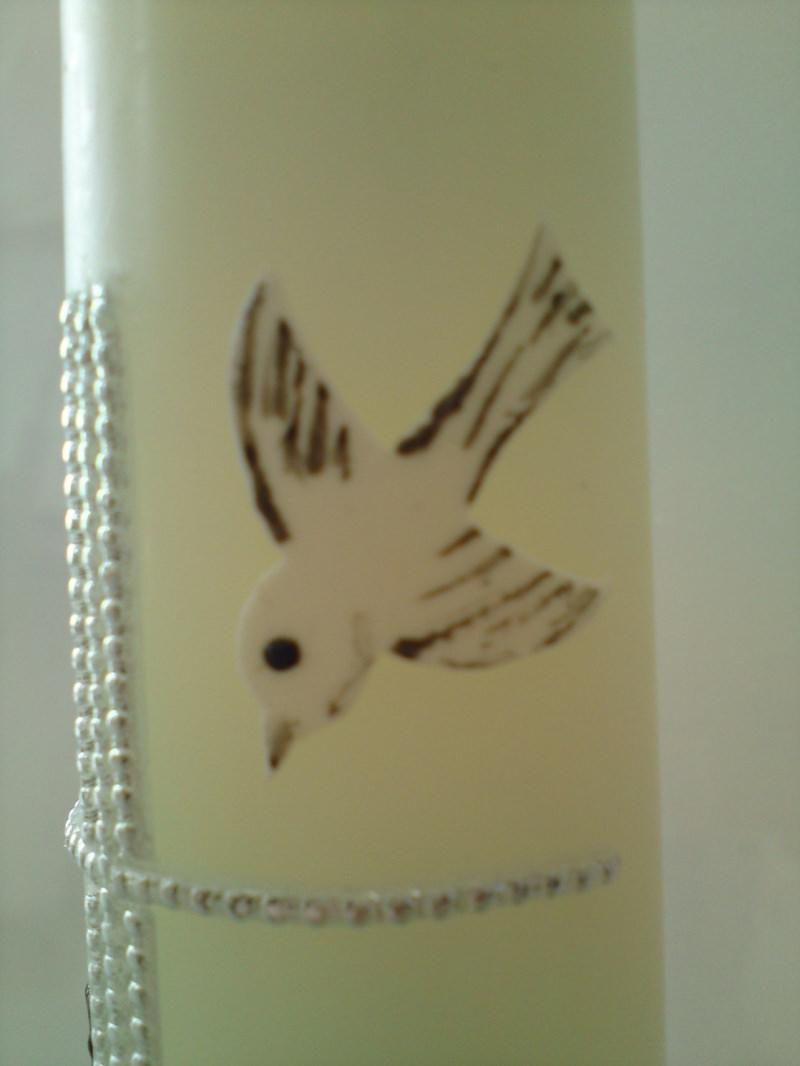 Kleinesbild - Schlichte Taufkerze mit Kreuz, einer Taube und Wasser
