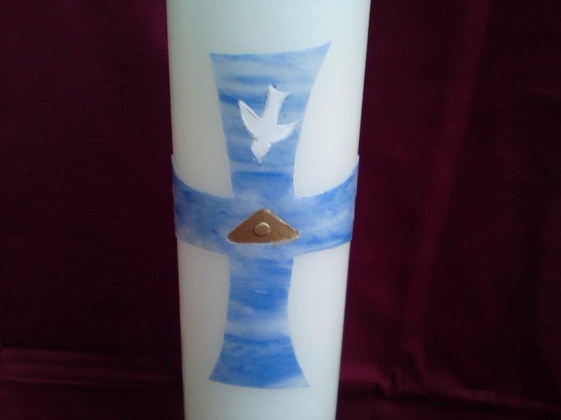 Kleinesbild - Taufkerze mit blauem Kreuz und christlichen Symbolen