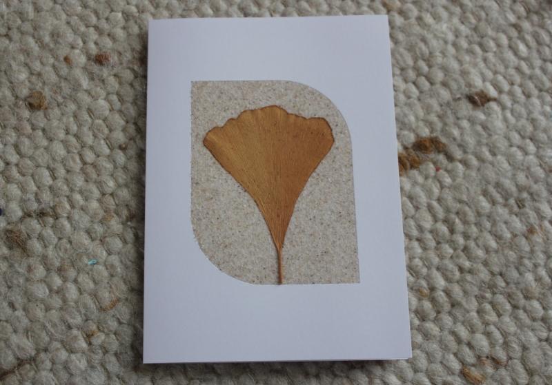 Kleinesbild - Besondere Sandkarten, Grußkarten mit Ginkgo-Blättern