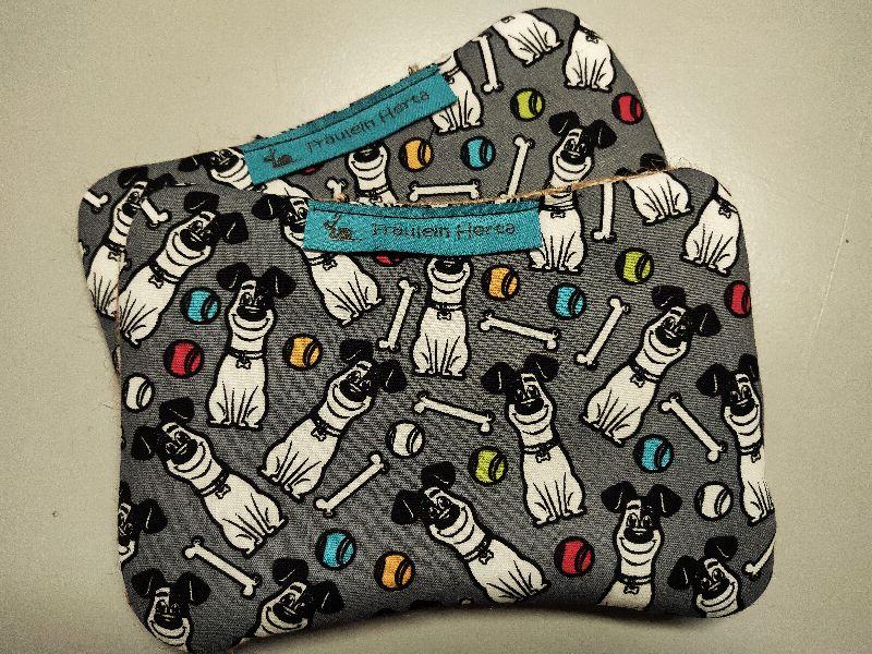 - Set Spülschwamm Spültuch Putzschwamm grau bunt Hund Knochen Ball - Set Spülschwamm Spültuch Putzschwamm grau bunt Hund Knochen Ball