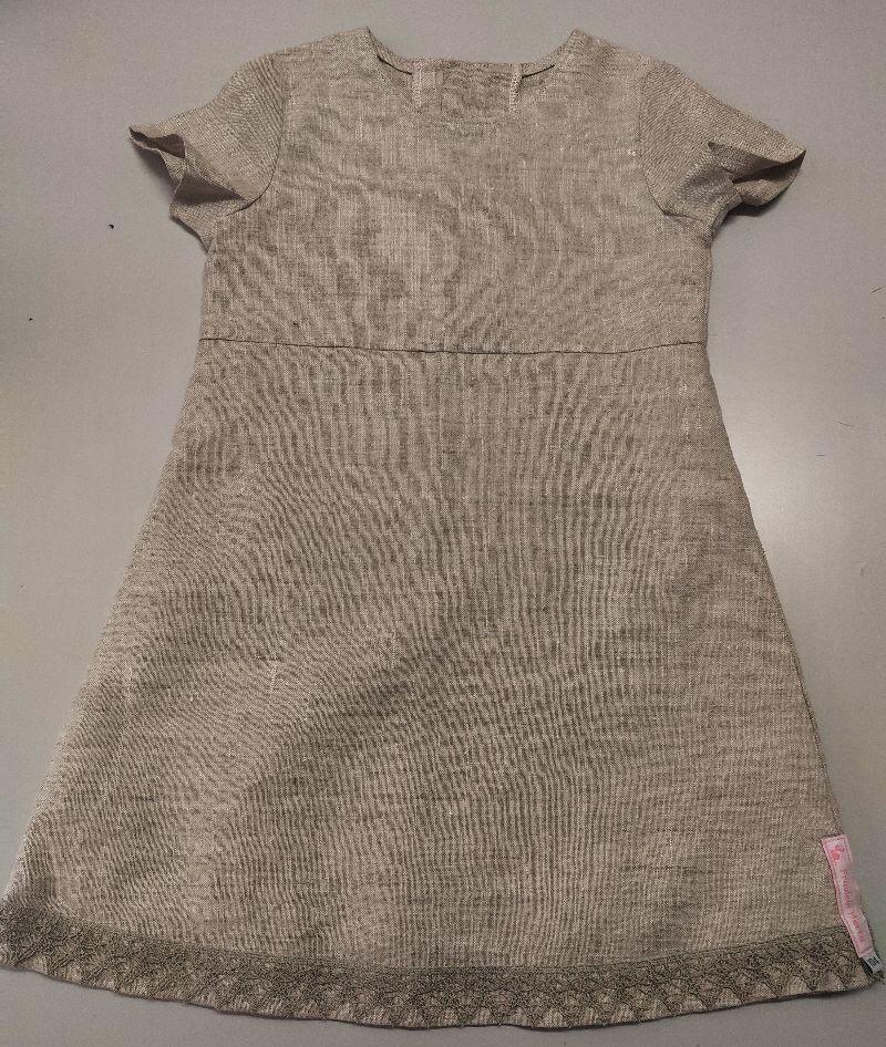 - Kinderkleid Leinen Spitze leinenfarben natur Sommerkleid Größe 104 - Kinderkleid Leinen Spitze leinenfarben natur Sommerkleid Größe 104