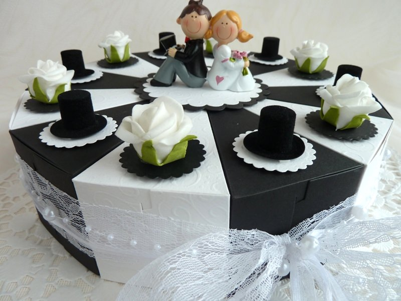 Kleinesbild - ♥Große Schachteltorte zur Hochzeit Geldgeschenk in  SCHWARZ-WEIß♥