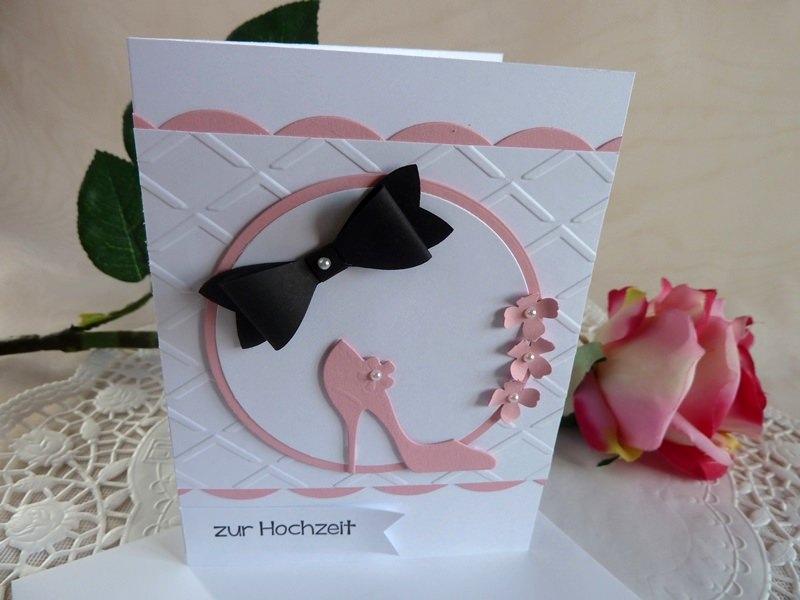 Kleinesbild -  Glückwunschkarte zur Hochzeit in weiß/rosa/schwarz *von IdeenOase*