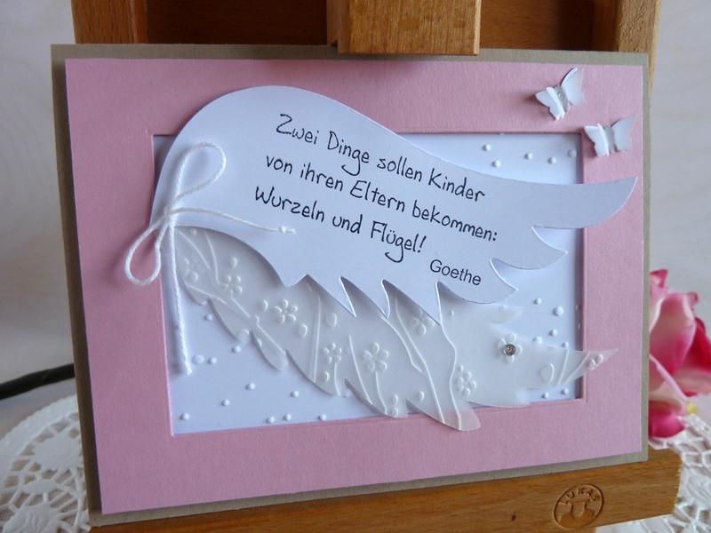 - Karte zur Geburt/Taufe für ein Mädchen in rosa/weiß  mit Flügeln - Karte zur Geburt/Taufe für ein Mädchen in rosa/weiß  mit Flügeln