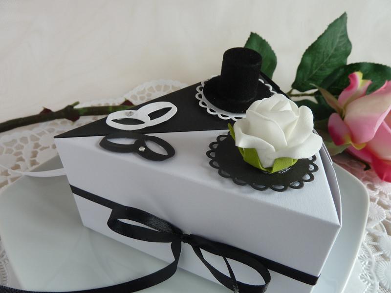 Kleinesbild - 2 Tortenstücke für Geldgeschenk/Gastgeschenk in s/w *von IdeenOase*