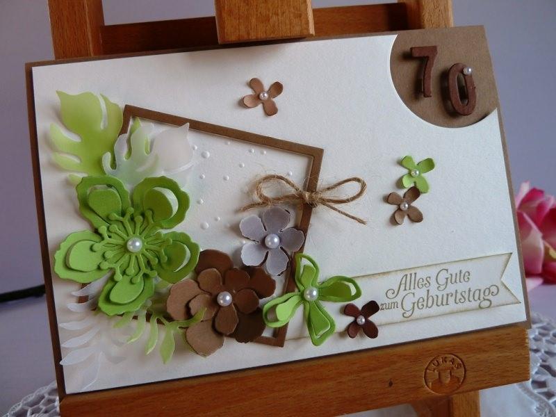 - Geburtstagskarte / Glückwunschkarte mit zahlreichen Blüten  - Geburtstagskarte / Glückwunschkarte mit zahlreichen Blüten
