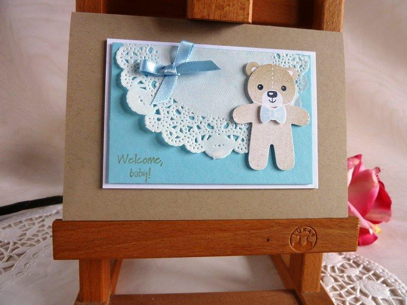 - Karte zur Geburt/Taufe für einen Jungen in hellblau mit Spitzendeckchen von *IdeenOase* - Karte zur Geburt/Taufe für einen Jungen in hellblau mit Spitzendeckchen von *IdeenOase*
