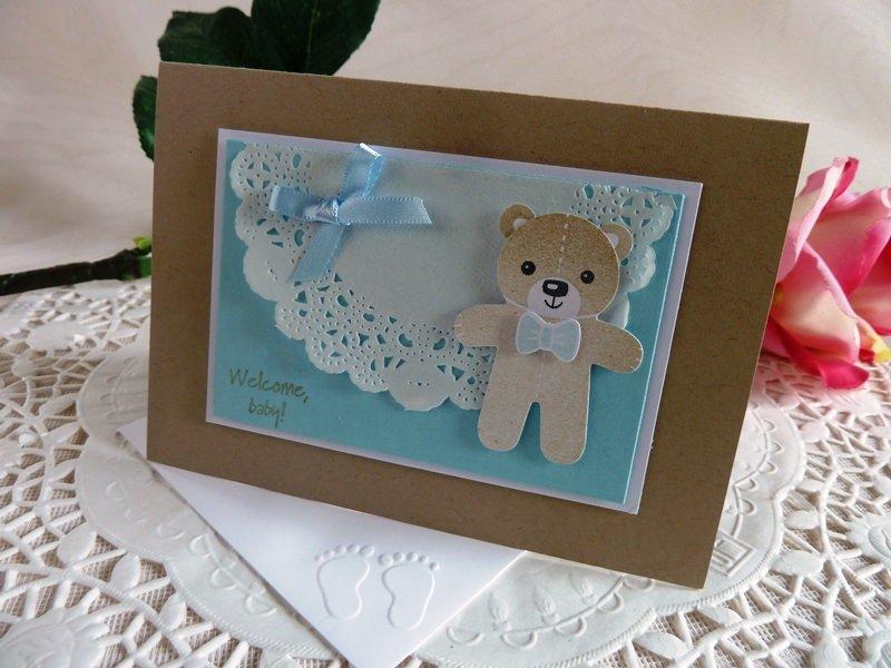 Kleinesbild - Karte zur Geburt/Taufe für einen Jungen in hellblau mit Spitzendeckchen von *IdeenOase*