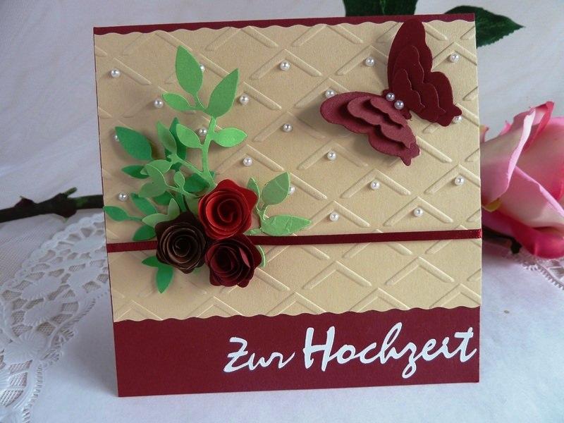 Kleinesbild - Hochzeitskarte in weinrot/beige mit vielen Halbperlen/im Schächtelchen