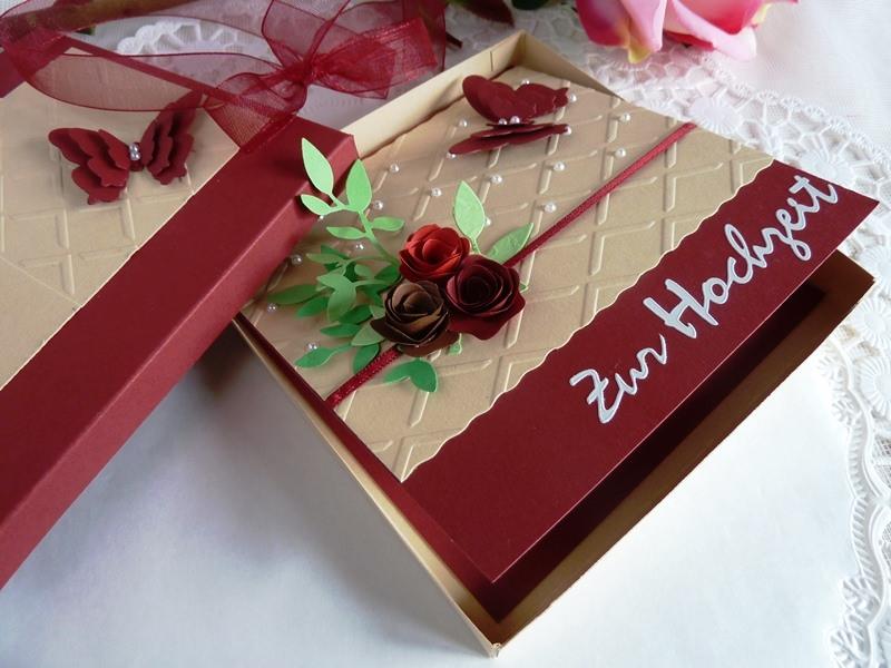 - Hochzeitskarte in weinrot/beige mit vielen Halbperlen/im Schächtelchen  - Hochzeitskarte in weinrot/beige mit vielen Halbperlen/im Schächtelchen
