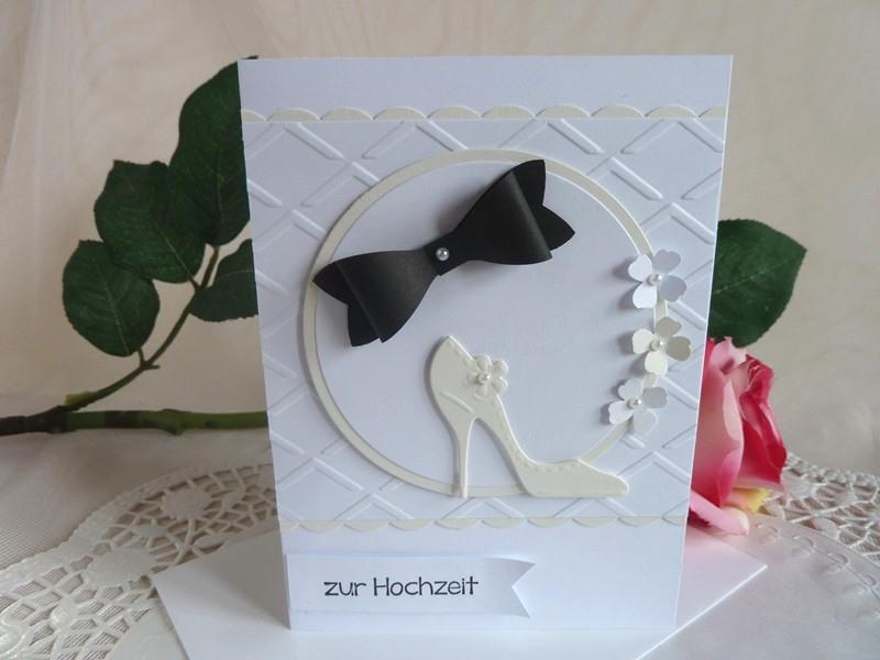 Kleinesbild -  Glückwunschkarte zur Hochzeit in weiß/creme und schwarz *von IdeenOase*