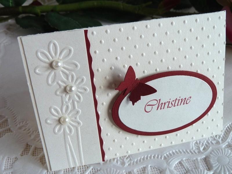 Kleinesbild - Tischkarte/Platzkarte zur Hochzeit in weinrot/perlweiß mit Namen *von IdeenOase*