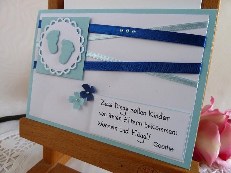 Kleinesbild - Karte zur Geburt/Taufe für einen Jungen in hellblau mit schönem Spruch *von IdeenOase*