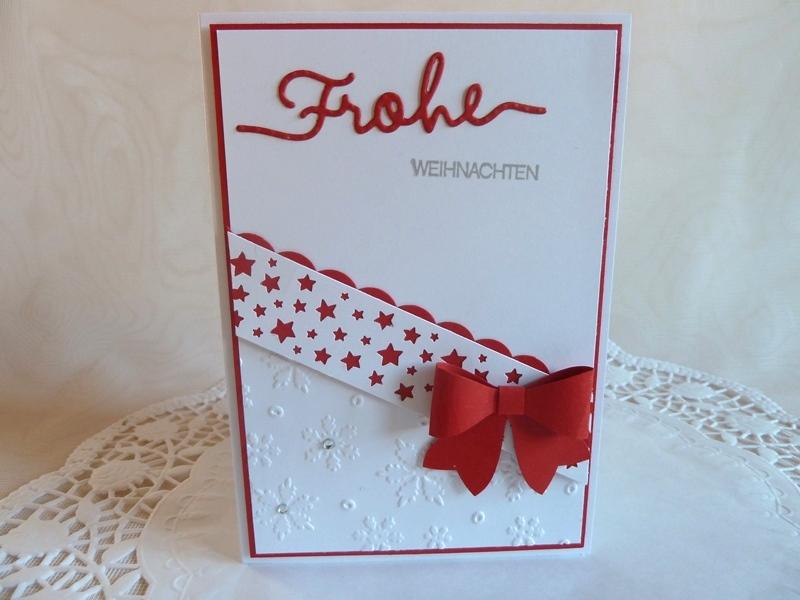 Kleinesbild - Weihnachtskarte in weiß/rot