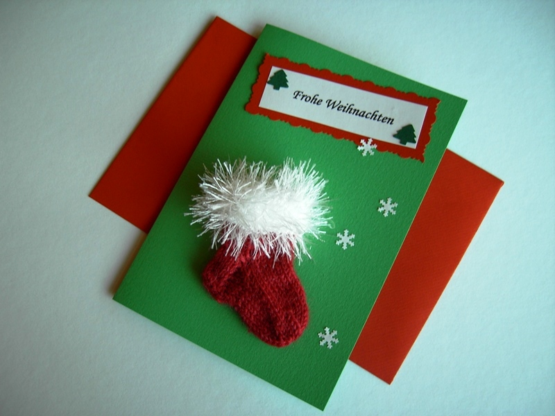 Kleinesbild - Weihnachtskarte / Geldgeschenk / Söckchenkarte tannengrün