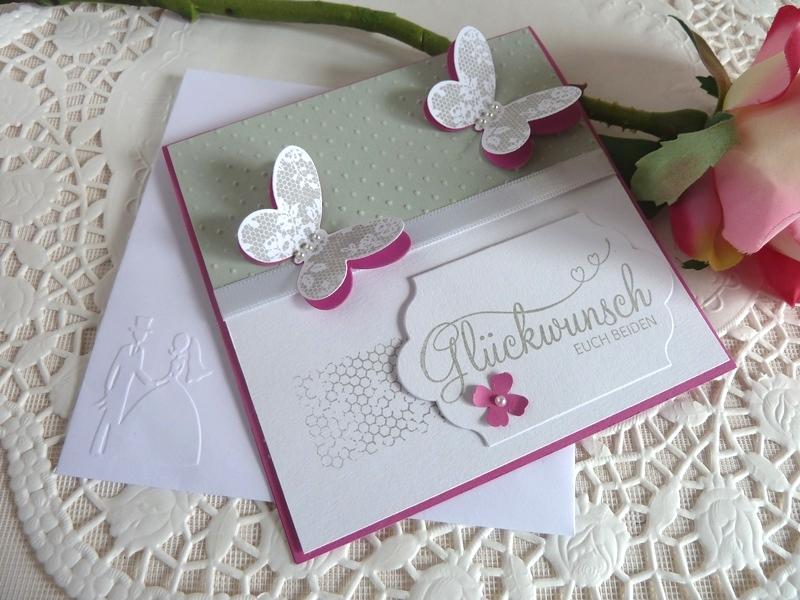 Kleinesbild - Hochzeitskarte quadatisch in hellgrau/weiß/pink mit Schmetterlingen *von IdeenOase*