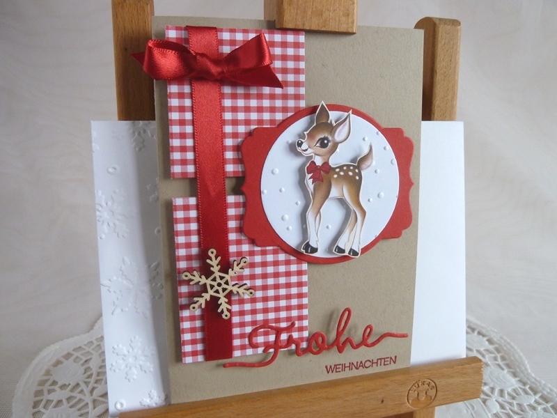 Kleinesbild - Weihnachtskarte mit Rehkitz und Holzelement