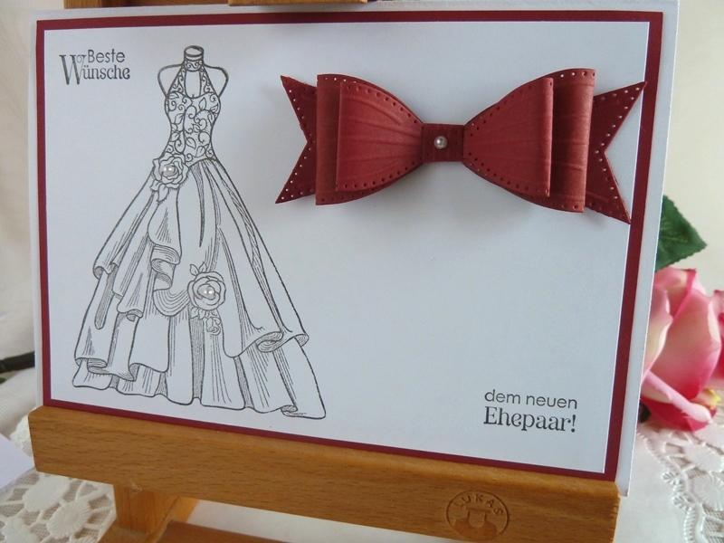 - Hochzeitskarte in weiß/weinrot - Hochzeitskarte in weiß/weinrot