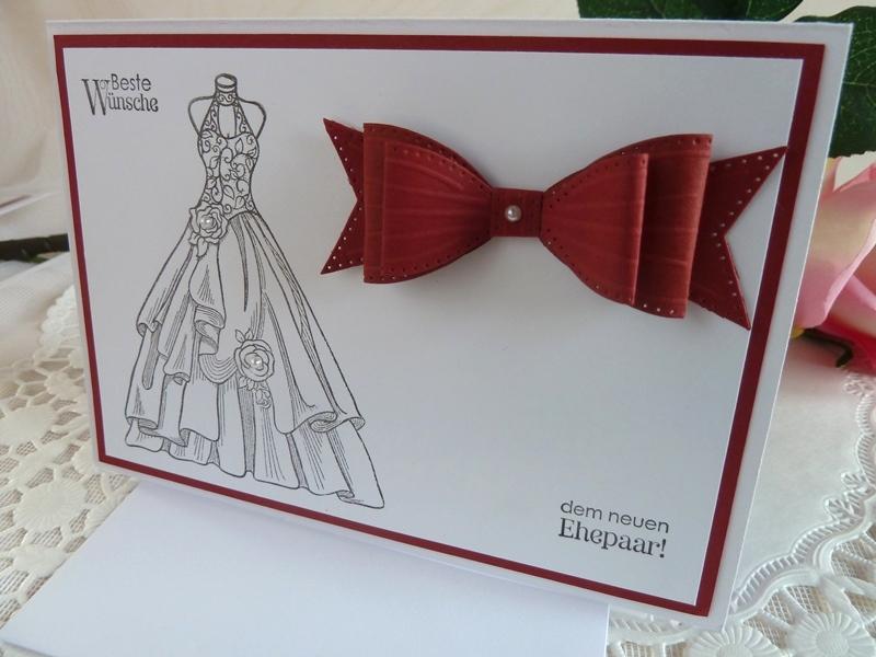 Kleinesbild - Hochzeitskarte in weiß/weinrot