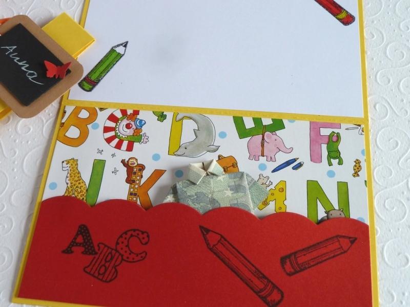 Kleinesbild - Geldgeschenkkarte zur Einschulung/Schulanfang/erster Schultag, Gutscheinkarte, Grußkarte, Glückwunschkarte