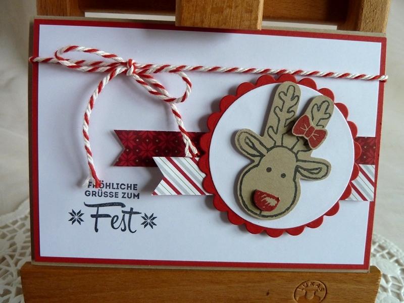- Weihnachtskarte, Klappkarte in weiß/rot mit Elchkopf - Weihnachtskarte, Klappkarte in weiß/rot mit Elchkopf