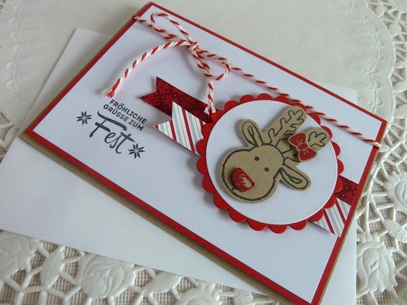 Kleinesbild - Weihnachtskarte, Klappkarte in weiß/rot mit Elchkopf