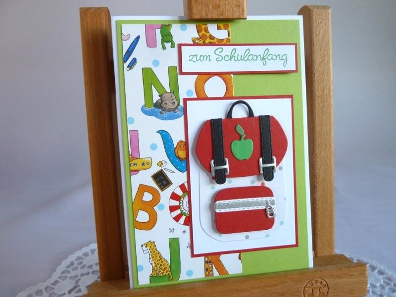 - Karte zur Einschulung, erster Schultag, zum Schulanfang mit Schulranzen - Karte zur Einschulung, erster Schultag, zum Schulanfang mit Schulranzen