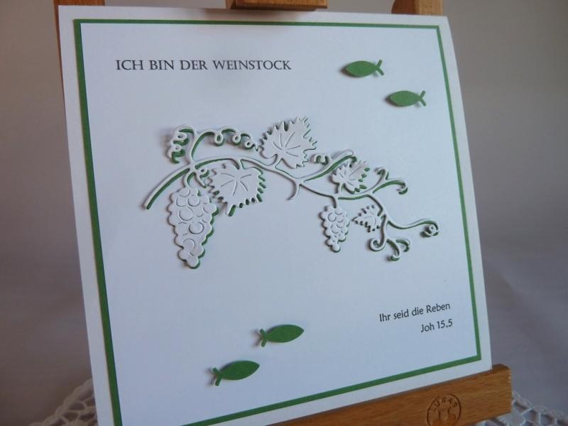 Kleinesbild - Quadratische Karte in weiß / grün zur Kommunion oder Konfirmation