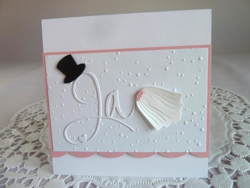 - Edle Hochzeitskarte in weiß/rosa mit Prägung, Ja-Schriftzug, Zylinder und Schleier - Edle Hochzeitskarte in weiß/rosa mit Prägung, Ja-Schriftzug, Zylinder und Schleier