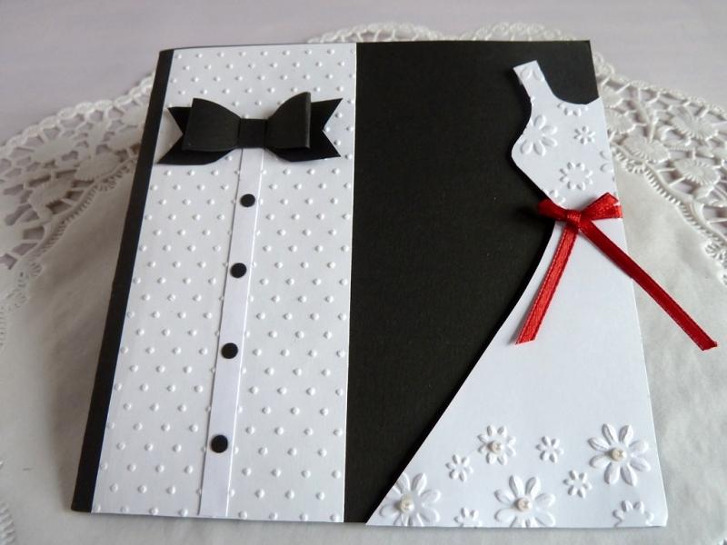 Kleinesbild - Edle Hochzeitskarte in schwarz/weiß