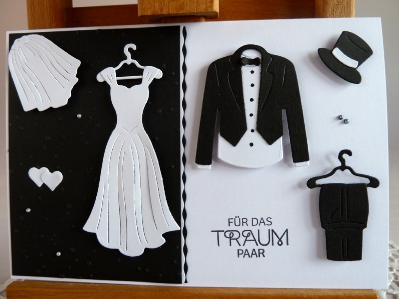 -  Glückwunschkarte zur Hochzeit in schwarz/weiß  -  Glückwunschkarte zur Hochzeit in schwarz/weiß