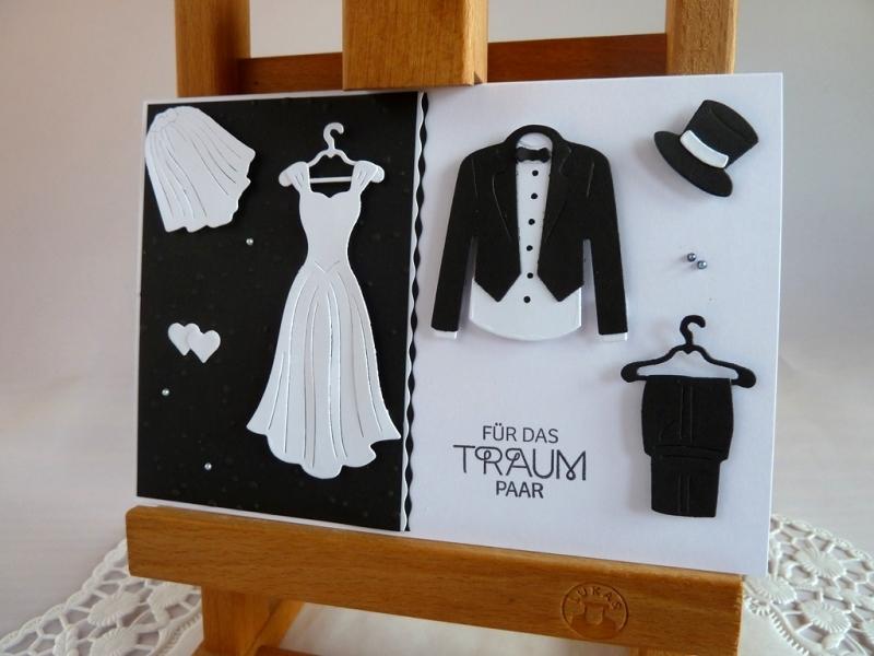 Kleinesbild -  Glückwunschkarte zur Hochzeit in schwarz/weiß